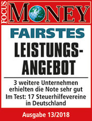 "Focus-Money-Test Siegel ""sehr gut"" Fairstes Leistungsangebot"